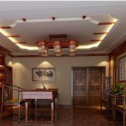 中式简约风格原木书房背景墙装饰