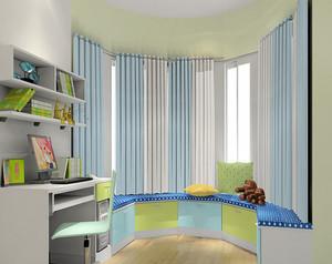 三居室地中海风格飘窗窗帘设计装修效果图