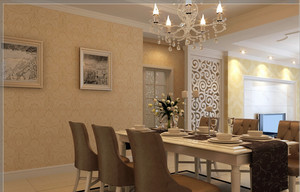三室一厅小户型欧式餐厅背景墙装修效果图