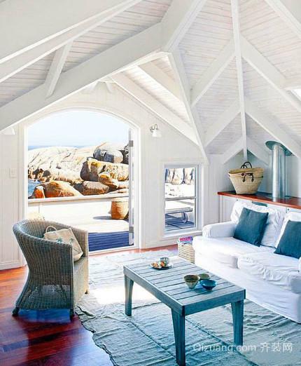 地中海风格自然清新斜顶阁楼装修效果图