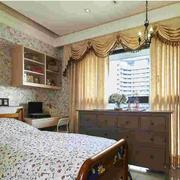 美式田园风格卧室印花壁纸装饰