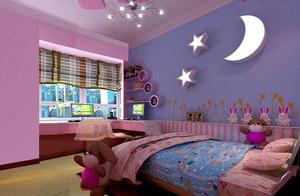 60平米美式风格儿童卧室内手绘背景墙装修效果图
