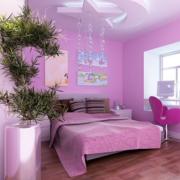 紫色系儿童房背景墙装饰
