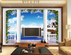 120平米大户型欧式罗马柱电视背景墙装修效果图