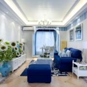 地中海客厅简约风格吊顶效果图
