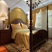 美式简约印花卧室床头壁纸装饰