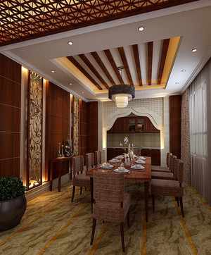 128平米大户型中式餐厅背景墙装修效果图