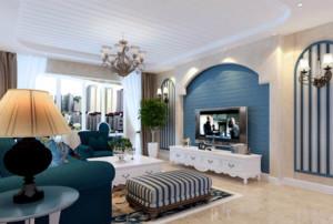 110平米地中海风格客厅吊顶电视背景墙装修效果图