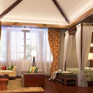80平米东南亚风格卧室吊顶装修效果图