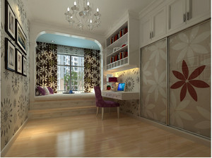 60平米小型甜美温馨的儿童卧室背景墙装修效果图