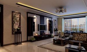 120㎡中式风格客厅吊顶电视背景墙装修效果图