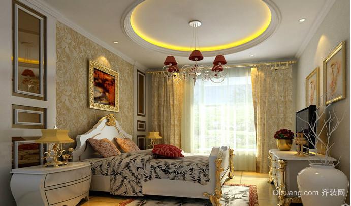 欧式复古卧室壁纸装修效果图
