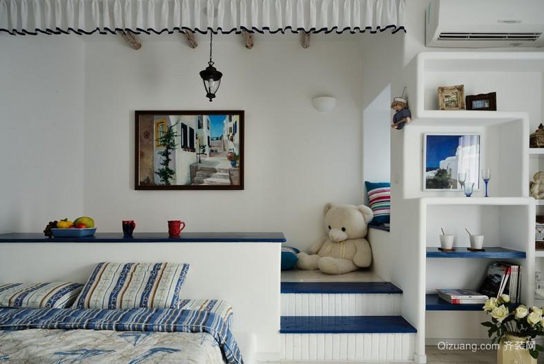 两室一厅地中海风格卧室背景墙设计装修效果图