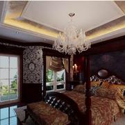 美式简约风格深色系卧室壁纸效果图