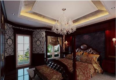 歐式復古臥室壁紙裝修效果圖