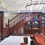 简约原木深色中式楼梯设计