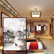 中式客厅山水人家屏风隔断装饰