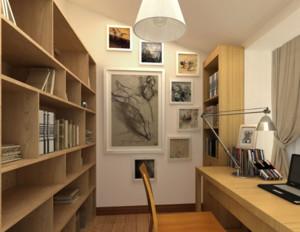 现代简约书房原木浅色书柜装饰