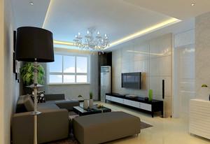 三室二厅现代时尚客厅墙贴背景墙装修效果图