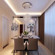 复式楼咖啡色餐厅窗帘装饰