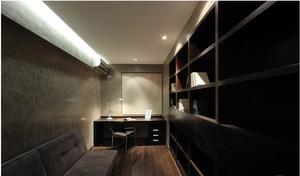 中式风格深色系书房书柜装饰