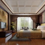 中式风格简约卧室山水画电视背景墙装饰