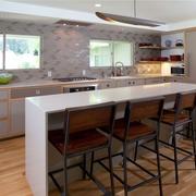 复式楼简约风格厨房吧台装饰