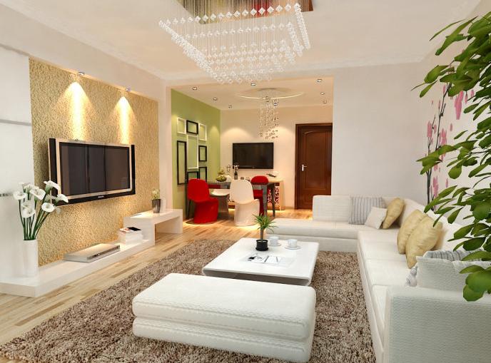 90平米简约 风格 客厅 石膏板 电视墙装修 效果图