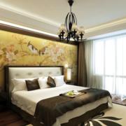 卧室床头中式背景墙