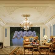 蓝色系客厅电视印花背景墙装饰
