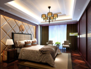 全新中式两室一厅卧室装修效果图