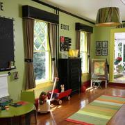 儿童卧室绿色墙面
