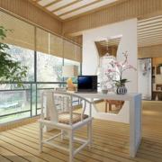 日式简约风格原木阳台装饰