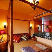 东南亚暖色系房间背景墙装饰