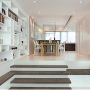 现代风格白色整体式书架装饰