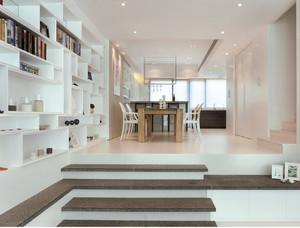 90平米现代欧式客厅墙上简易书架背景墙装修效果图
