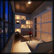 豪宅简约内嵌式阳台装饰