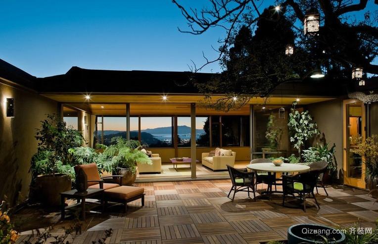 时尚自然的别墅型顶层露台阳台装修效果图
