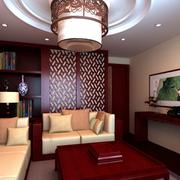 中式客厅纯色电视背景墙装饰