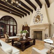 美式混搭地中海风格客厅吊顶装饰