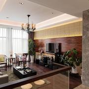 美式简约风格客厅原木深色电视背景墙