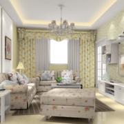 韩式清新风格客厅置物架装饰