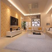 现代暖色调客厅展示
