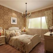 欧式田园风格卧室印花背景墙装饰
