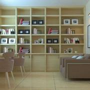 书房原木色大型书柜