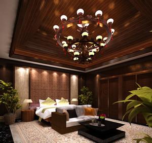 120平米东南亚风格卧室背景墙装修效果图欣赏
