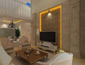 90平米北欧风格错层客厅电视背景墙装修效果图