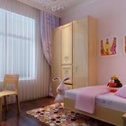 粉色系儿童房简约粉色飘窗装饰