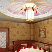 中式风格饭店包厢圆形吊顶装饰