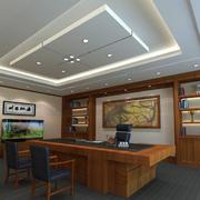 中式原木深色系办公室装饰